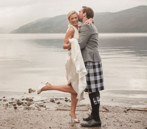 wedding couple Loch Ness exclusive use Scottish castle Celebrations Aldourie Castle