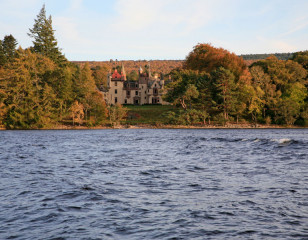 Aldourie castle from Loch Ness