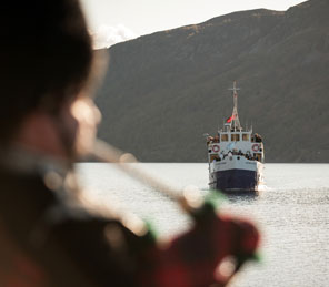 Piper and boat on Loch Ness|Private hire small celebrations|Aldourie Castle Estate Scotland