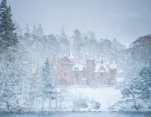 Aldourie Castle in Snow