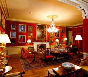 Red drawing room Aldourie Castle Estate public rooms exclusive use castle loch ness