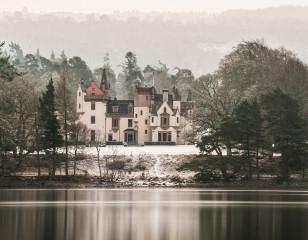 Aldourie Castle with snow