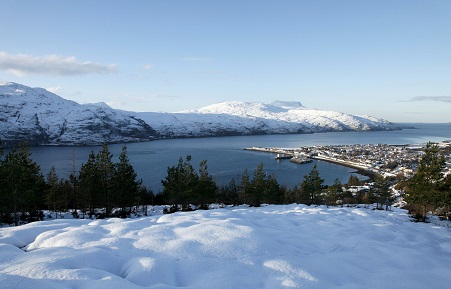 Ullapool and loch broom with the mountain of beinn ghobhlach in the distance. North west highlands.
