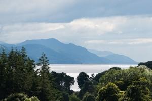 Aldourie Castle estate view over Loch Ness