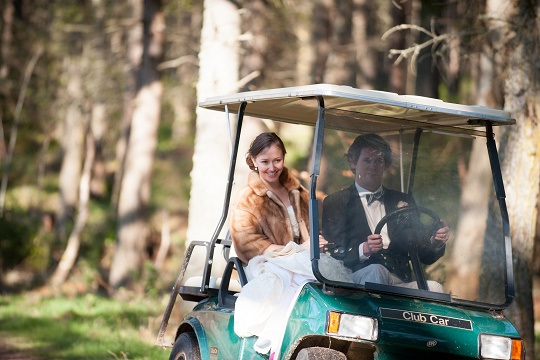 unique weddings Aldourie Castle golf buggy - Historic Aldourie Castle